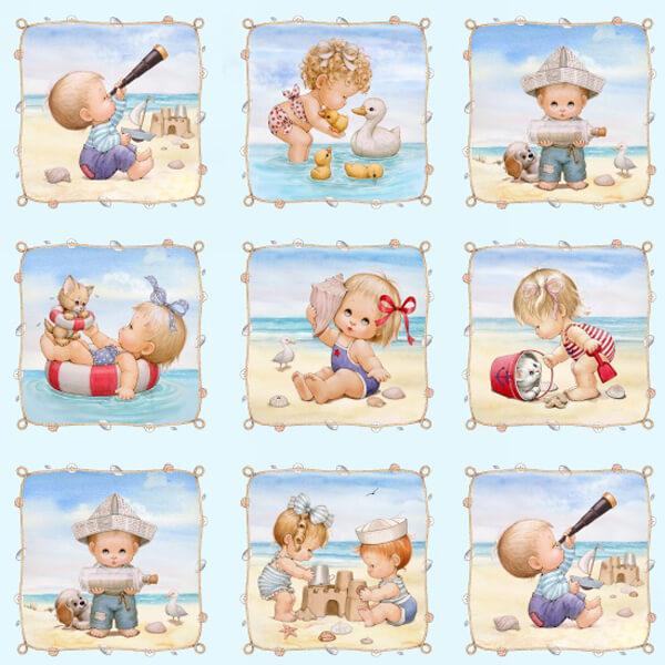 Panel de niños jugando en la playa