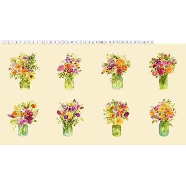 Panel de tela jarrones con flores