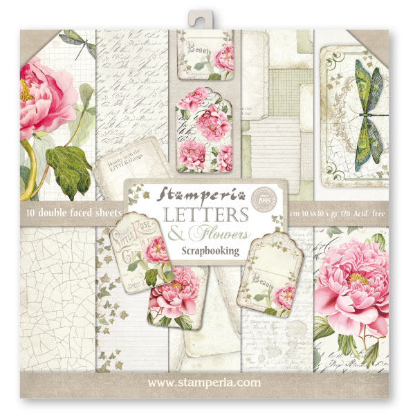 kit papeles estampados letters flowers