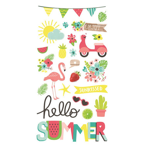 chipboard stickers estampados hello summer