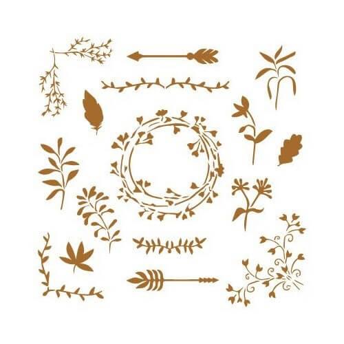 Stencil Elementos florales