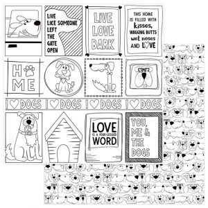 papel 12x12 color me dogs