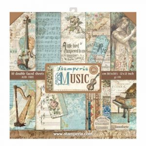 kit papeles estampados colección music stamperia