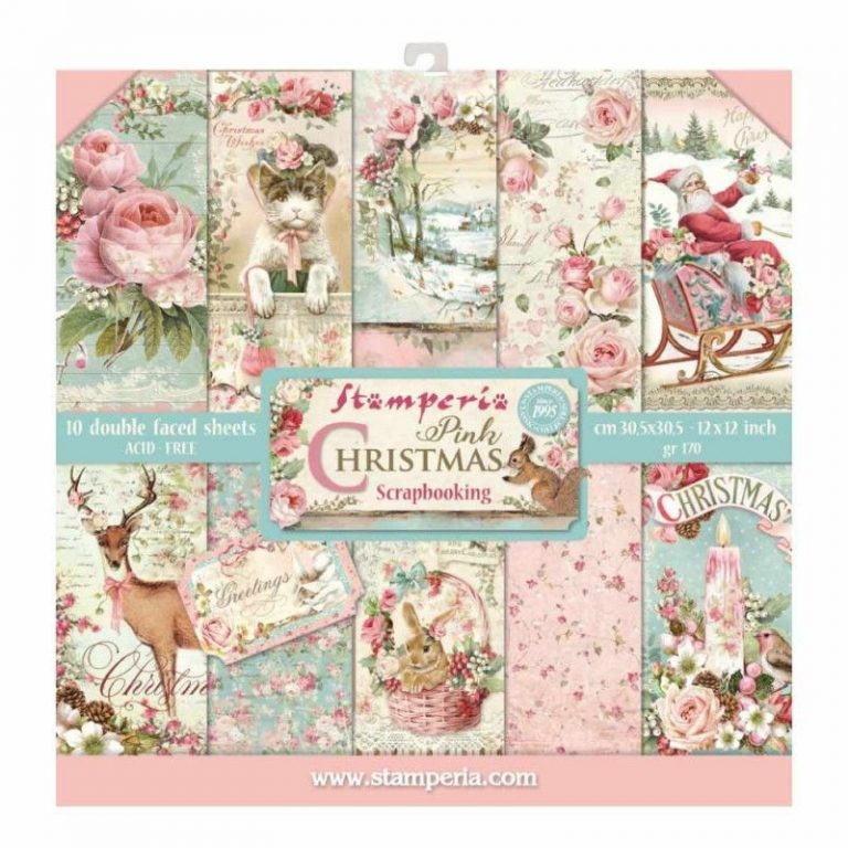 kit papeles estampados pink christmas