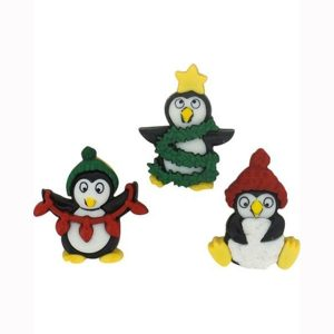 botones holiday penguins