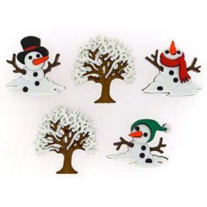botones muñecos nieve derretidos