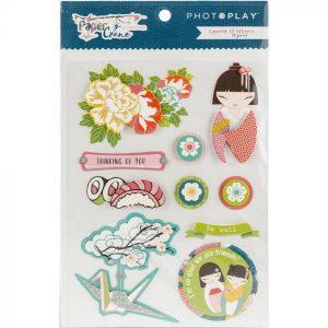 layered 3d stickers paper crane