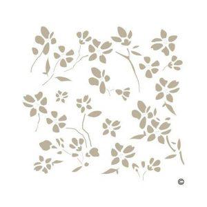 stencil plantilla fondo flores de almendro