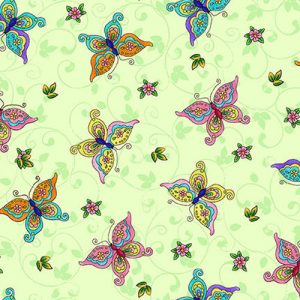 Tela mariposas mint