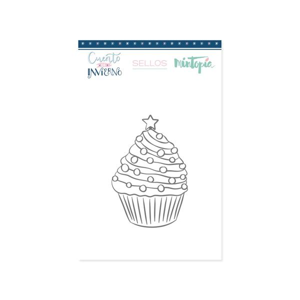 sello acrilico cupcake navideño