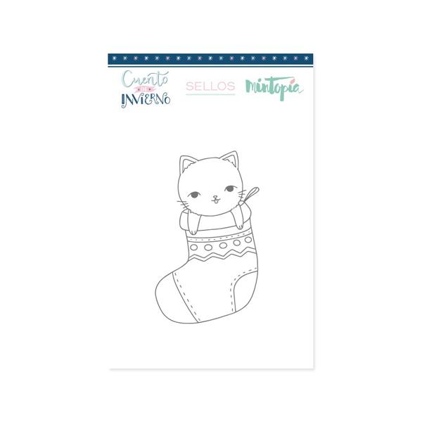 sello gato calcetin