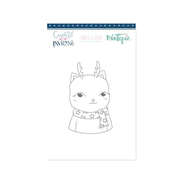 sello acrilico gato ciervo