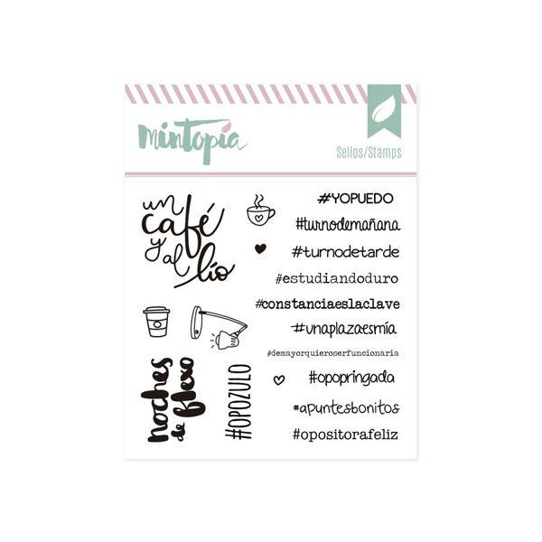 sellos acrilicos hashtags para opositoras