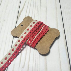 cinta tapacosturas beige y rojo