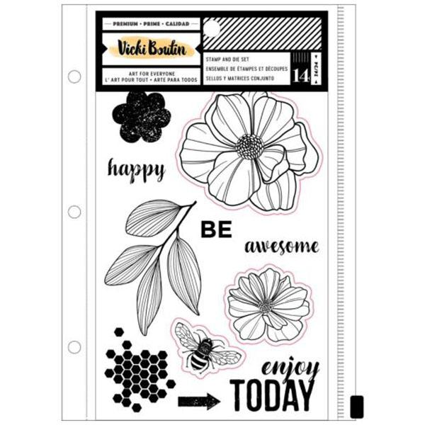 kit sellos y troqueles wildflower