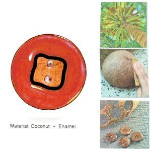 Botón-coco-lacado naranja