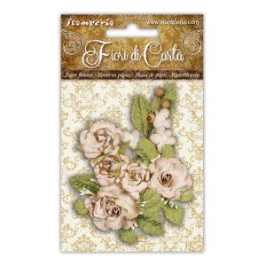 adornos flores de papel variadas