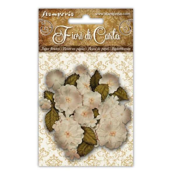 flores de papel marfil stamperia