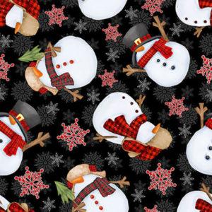 Tela-navidad-muñecos-nieve