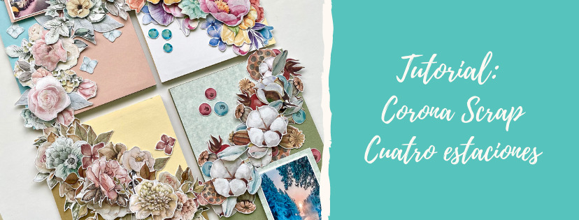 Corona de scrapbooking decorativa con flora book