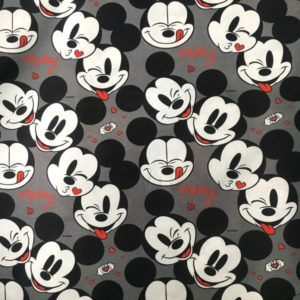 Tela Estampada Mickey Mouse sobre fondo gris