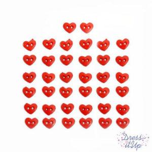 Botones Micro corazones rojos