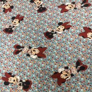 Tela Estampada Minnie Mouse sobre fondo floral