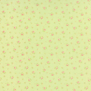 Tela Bespoke Blooms con fondo verde de Moda Fabrics