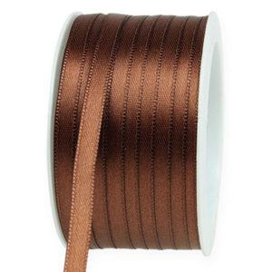 Cinta de raso fina marrón 8mm
