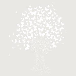 stencil deco floral arbol mariposas