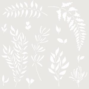 stencil deco floral hojas