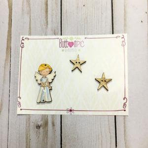Maderita Comunión Ángel azul y estrellas