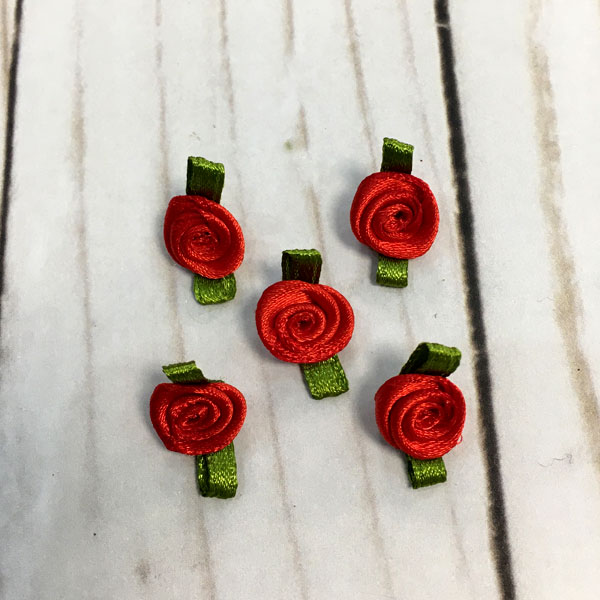 Pack Aplicaciones flores color rojo