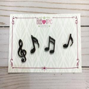 Botón de madera decorativo Notas Musicales