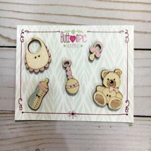Botón de madera decorativo Adornos Bebé Rosa