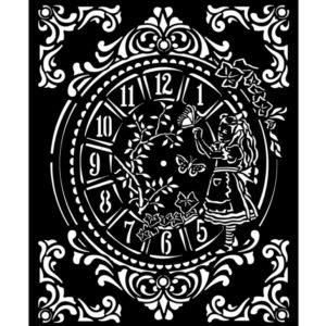stencil reloj alice
