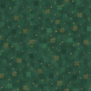 tela estrellas doradas verde
