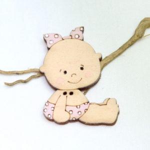 botón madera bebé niña