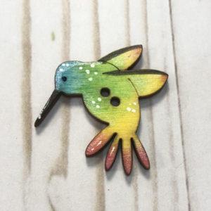 boton madera colibrí