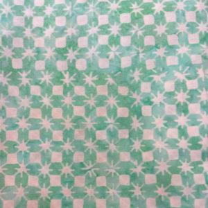 Tela Batik Geométrica verde mint
