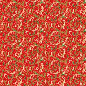 tela damasco rojo classic foliage