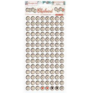 alfabeto chipboard romantic collection